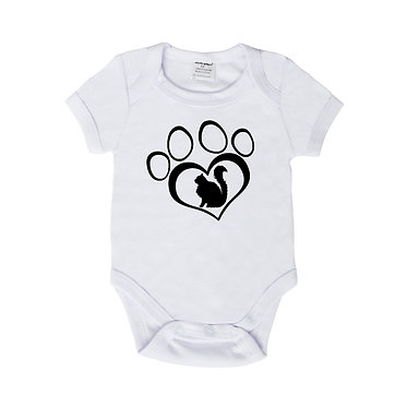 Baby romper play suit white with black cat in heart paw print image front view