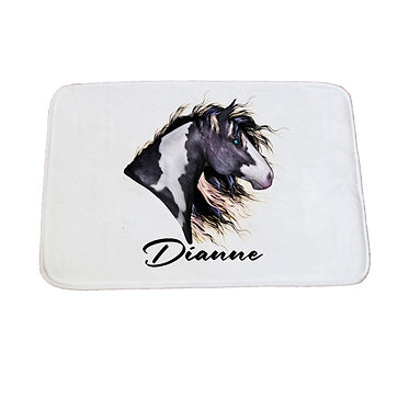 Personalised non-slip bath mat black and white paint horse image front view
