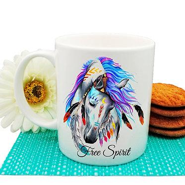 Ceramic coffee mug spirit horse image front view
