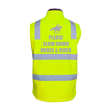 Hi-vis reflective horse riding vest lime and navy with please slow down horse and rider back view