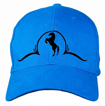 Horse themed cap hat aqua one size fits all front view