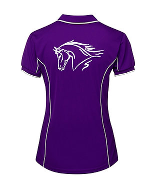 Ladies horse pipping polo shirt purple white horse head image back view