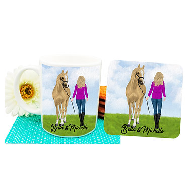 Personalised ceramic coffee mug and coaster set blond haired girl and horse image front view