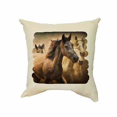 Tan cushion cover with zip wild horses image front view