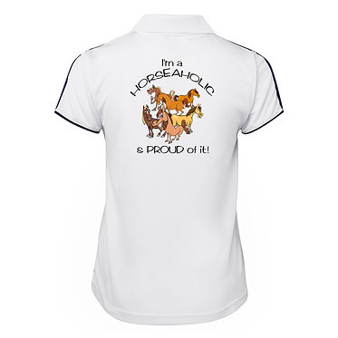 White with dark navy piping ladies pipping polo top I'm a horse-aholic and proud of it horse image back view