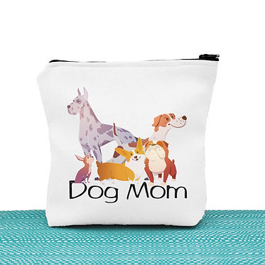 White cosmetic toiletry bag with zip dog mom image great dog gift idea front view