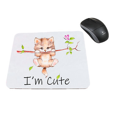 Neoprene computer mouse pad cute kitty hanging on branch image front view