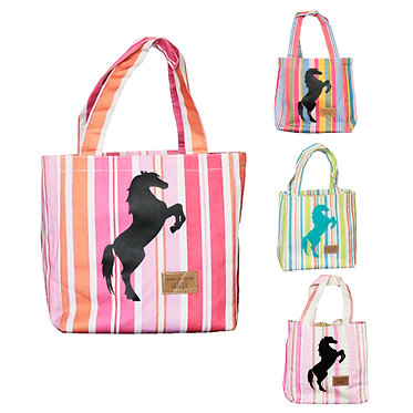 Lunch cooler bags with rearing horse on front with four colour combinations