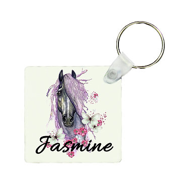 Personalised square MDF wood key-ring purple horse image front view