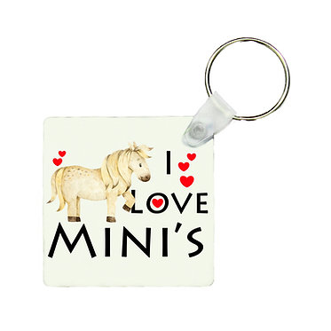 Square MDF wood key-ring I love mini's pony image front view