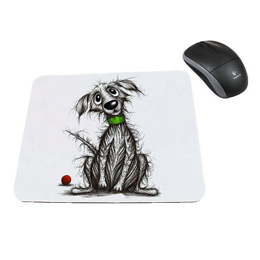 Computer mouse pad neoprene scruffy dog image great dog gift idea front view