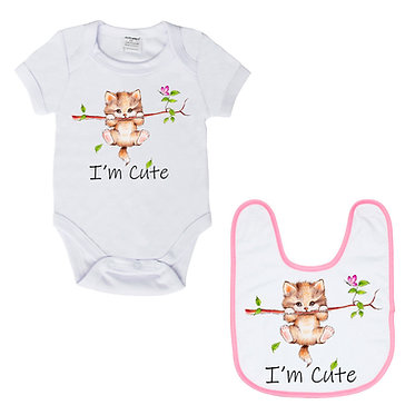 Baby romper play suit white with pink trim I'm cute kitty cat image front view