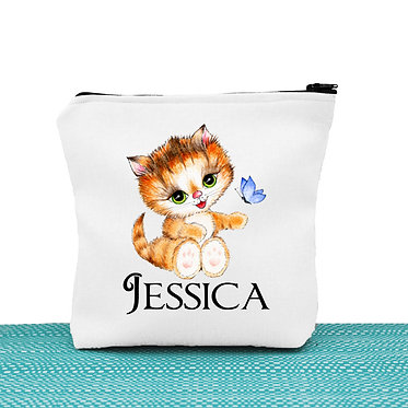 White cosmetic toiletry bag with zipper personalized with name and cute kitty sitting image front view