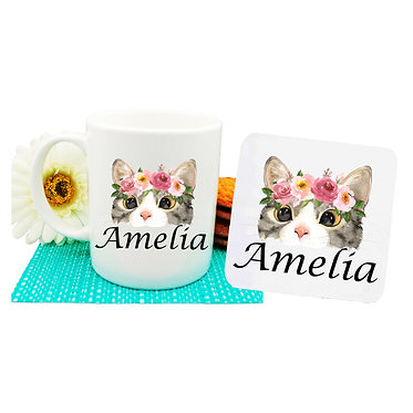 Ceramic coffee mug and drink coaster set personalized cat face with flowers image front view