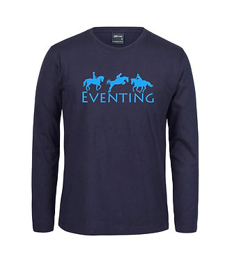 Adults long sleeve t-shirt navy with blue eventing horse image front view
