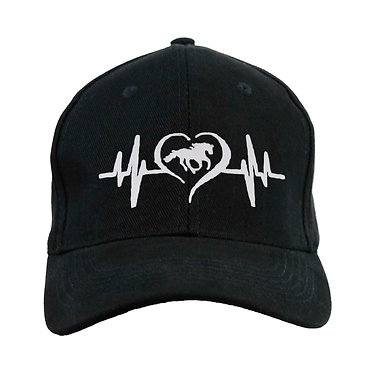 Black cap hat with horse and heart beat white image front view