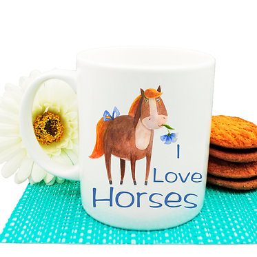 "Ceramic coffee mug with horse and quote ""I love horses"" image front view"