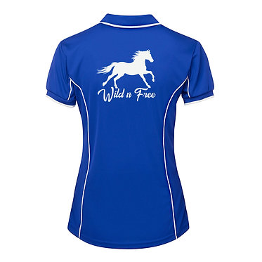 Ladies horse pipping polo shirt royal blue white wild n free horse image back view