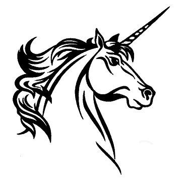 Unicorn vinyl decal sticker in black front view