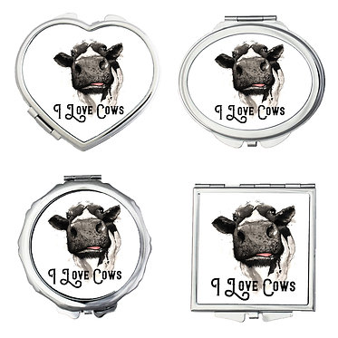 Set of four compact mirrors with cow image and quote i love cows front view