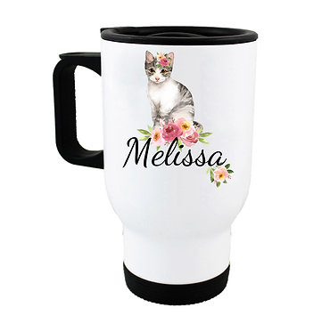 Travel mug with personalized with cat with flowers and name image front view