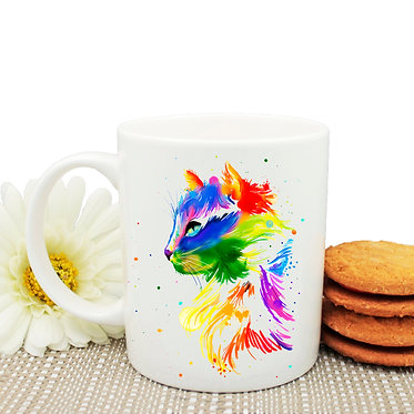 Ceramic coffee mug bright watercolour cat image front view