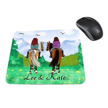 Neoprene computer mouse pad personalised best friends horse riding image front view