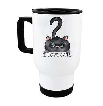 """Travel mug black cat with quote """"I love cats"""" image front view"""
