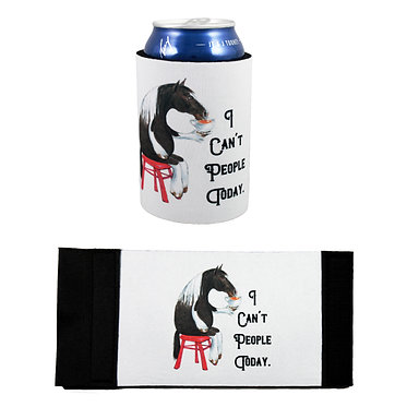 Neoprene stubby cooler with I can't people today image front and flat view