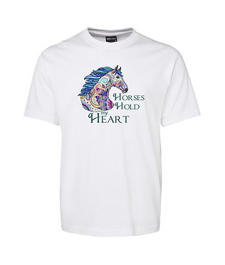 "Adults t-shirt white 100% cotton with horse and quote ""Horses hold my heart"" image front view"