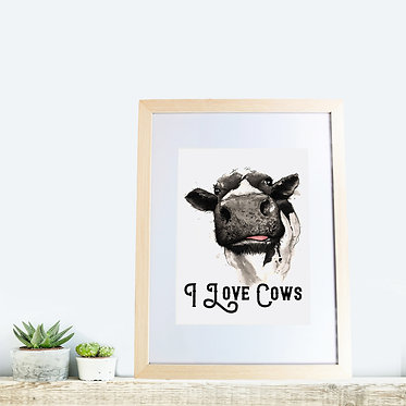 Wood picture frame rectangle with cow and quote i love cows front view