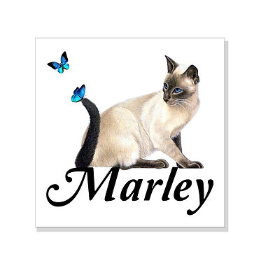 Square art print on card stock personalized with a cat with butterflies image front view