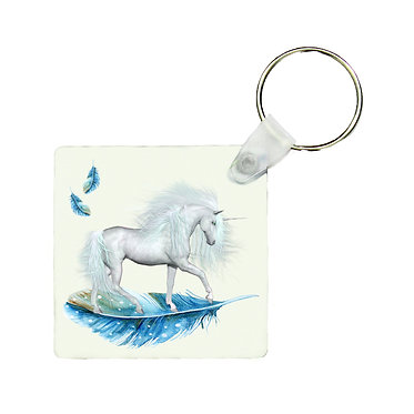 Square wood key ring unicorn on blue feather image front view