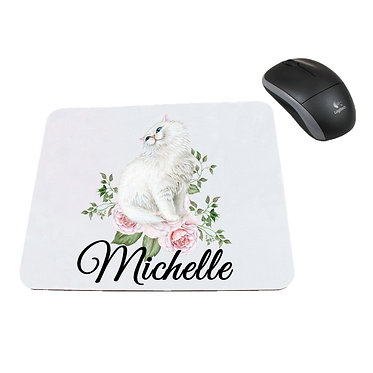 Personalized computer mouse pad with white cat with flowers image front view