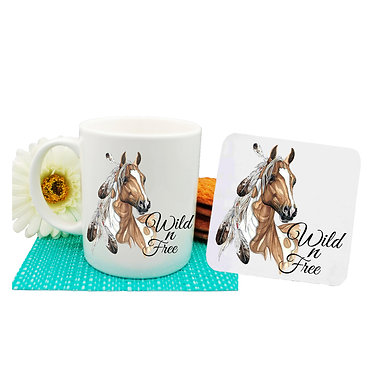 Ceramic coffee mug and drink coaster set with paint horse wild n free image front view