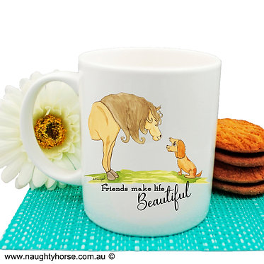 Ceramic coffee mug with horse and dog friendship image front view