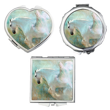 Compact mirrors in 3 shapes heart, round and square white horse with wings image front view