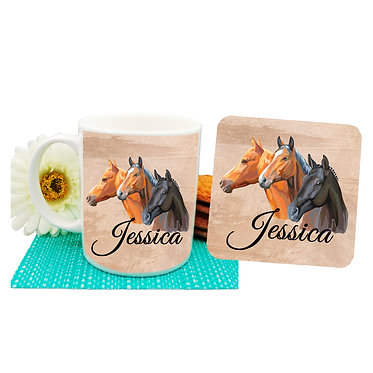 Personalised ceramic coffee mug and coaster set with three horses front view