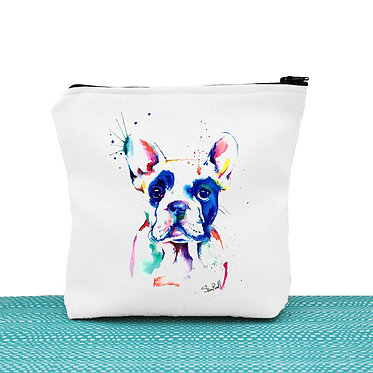 White cosmetic toiletry bag with zip paint rainbow image great dog gift idea front view