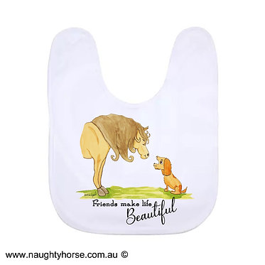 Babies bib white with horse and dog friendship image front view