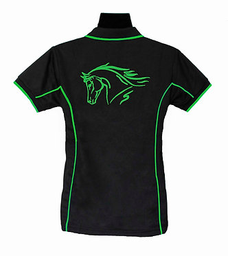 Black with green pipping and image horse polo shirt ladies back view