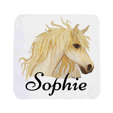 Personalised neoprene drink coaster sets personalised watercolour horse image front view