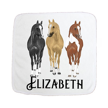 Personalised face washer three horses image front view