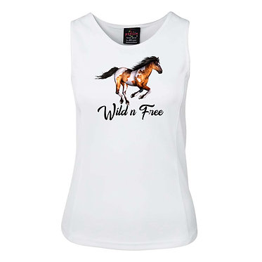 White ladies singlet top with a cantering paint horse wild n free image front view
