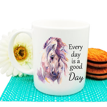 "Ceramic coffee mug with horse and quote ""Every day is a good day"" image front view"