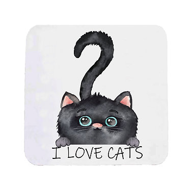"""Neoprene drink coaster black cat with quote """"I love cats"""" image front view"""
