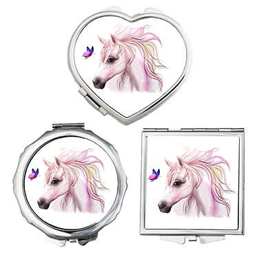 Compact mirrors in 3 shapes heart, round and square horse and butterfly image front view