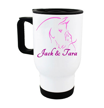 Personalised travel mug stainless steel girl and horse together hot pink image front view