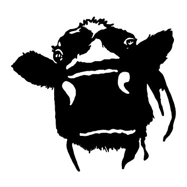 Cow vinyl decal sticker in black front view
