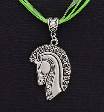 Lime Aztec Horse Ribbon Necklace Front closeup view